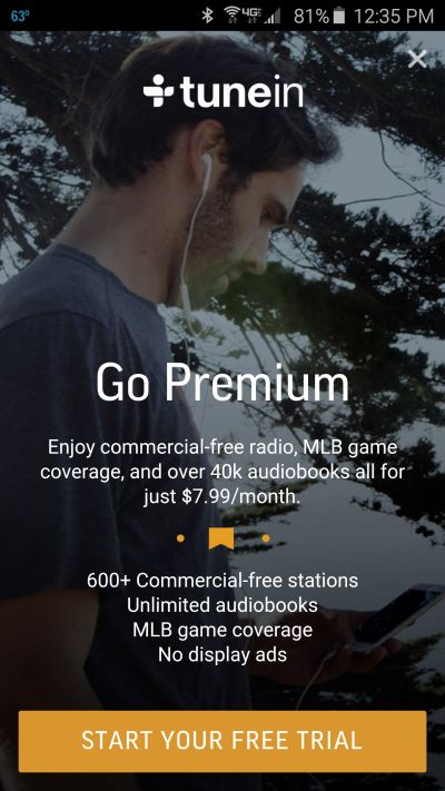 TuneIn App on an Android phone